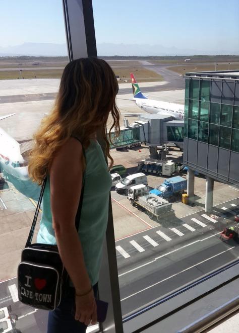 Watching plane disembark at Cape Town International Airport