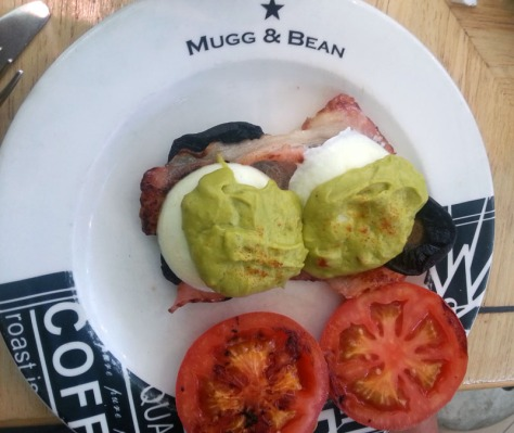 Mushroom and avo eggs benedict