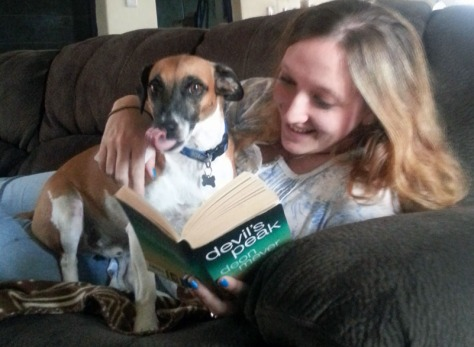 Reading with dog.