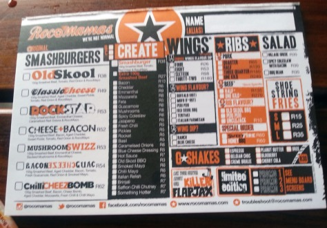 Rocomama's smashburger menu in Durbanville