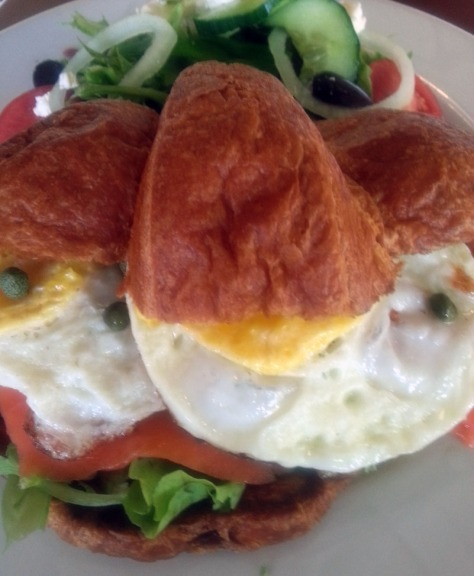 Salmon croissant at Earth Cafe, Parklands