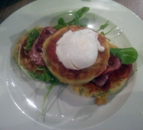 Sweetcorn fritters at Village Place Cafe.