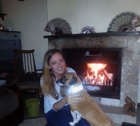 Dog in front of fire