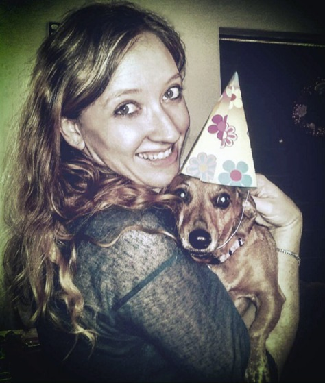 Dacschund in birthday hat