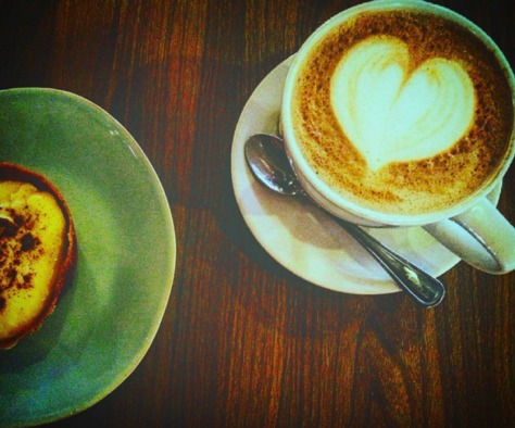 Mini milk tart and cappuccino