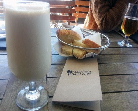 Salted caramel shake and fresh bread at Woodstock Grill & Tap