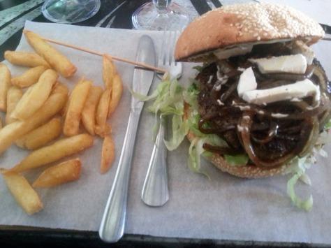 Mercury burger at Three Feather's Diner.