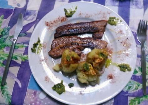Pork rashers and mini baked potatoes