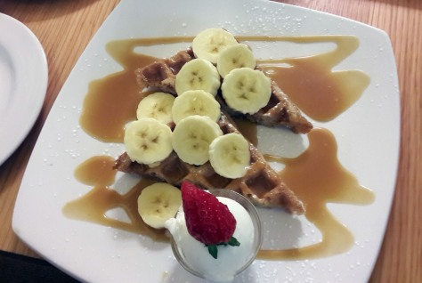 Waffle with banana and caramel at Green's