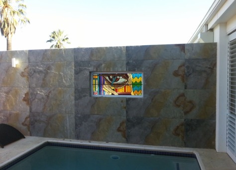 Stained-glass above pool at Val du Charron