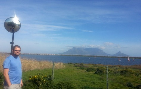 Boats at Flamingo Vlei with Table Mountain