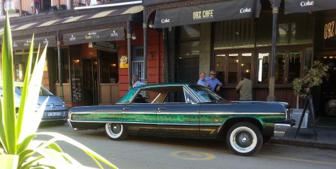 Green car at Obz Cafe in Observatory