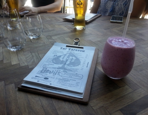 Raspberry smoothie at The Taproom