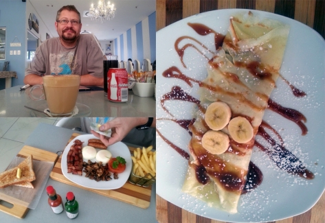 Banana pancake and coffee at Blueberries