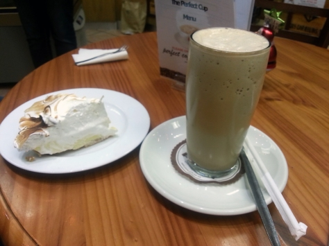 Coffee shake and lemon meringue at Peacocks
