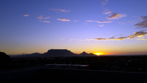 Sunset over Table Mountain from Burgundy Estate