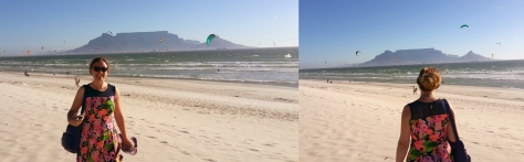 Table Mountain and kite surfers.