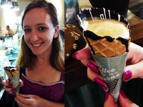 SLo-Jo Coffee in a cone