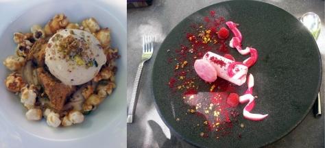 Dessert at Grande Provence. Berry ice cream sandwich and pot au creme.
