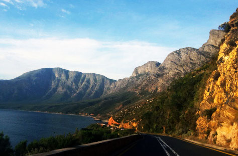 Beautiful views along the road that hugs the coast from Pringle Bay to Gordon's Bay.