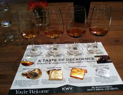 KWV's 'brandy and Huguenot chocolate' pairing.