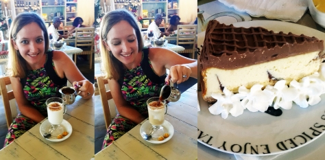 Cafe latte and chocolate cheesecake at Cafe Lacomia