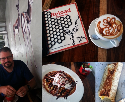 Waffle and latte and cappuccino and wrap at Reload in Parklands