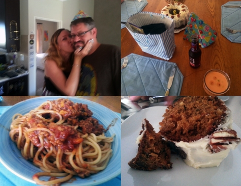 Spaghetti and carrot cake and birthday hat
