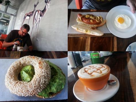 Bagel and hot dog at Reload
