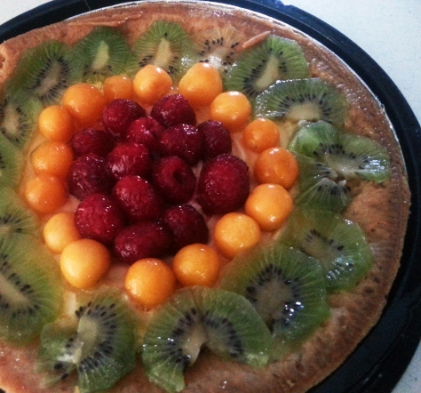 Fruity custard flan.