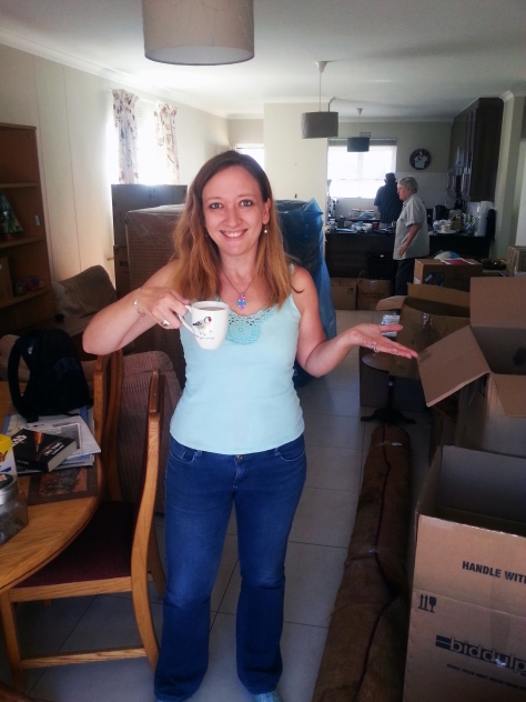 Coffee and unpacking boxes