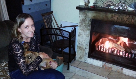 Dog at fireplace