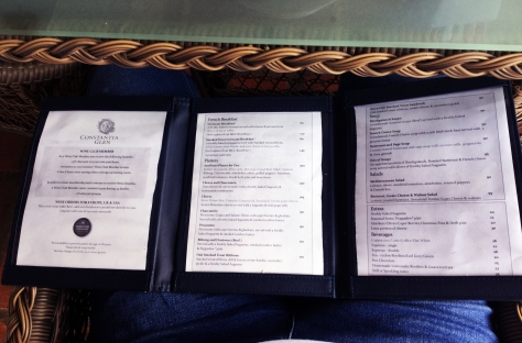 Constantia Glen menu
