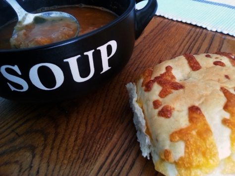 Soup and cheese roll