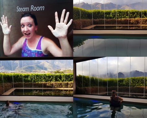 Steam room and heated pool at Leeu Estates