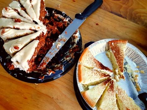Carrot cake and milk tart