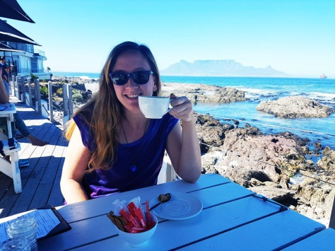 Cappuccino at On the Rocks with view of Table Mountain