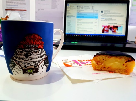 Owl office mug and donut