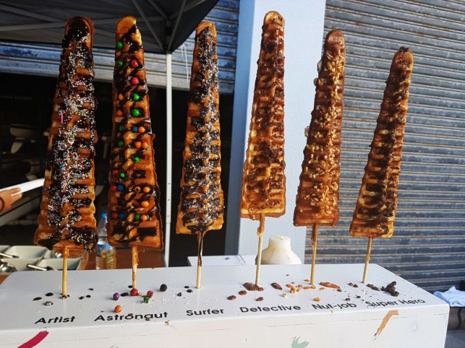 Husband's 38th birthday and waffles on a stick at the Big Bay Summer Market