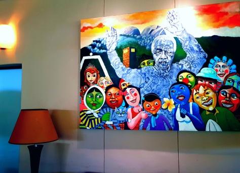 Freedom Day Mandela painting at Clos Malverne.