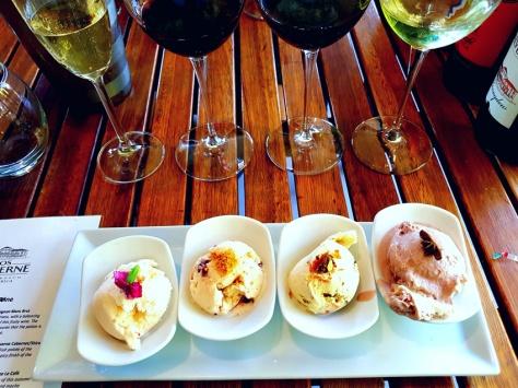 Ice cream wine pairing at Clos Malverne
