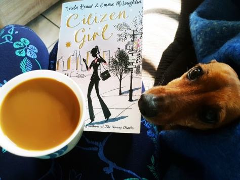 Dog and book and coffee