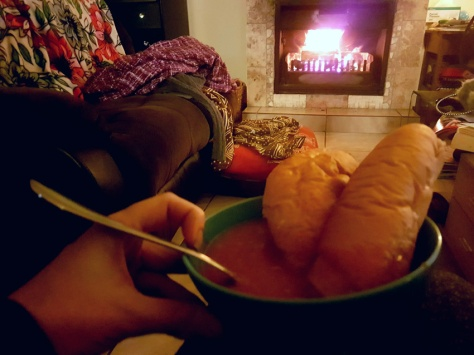 Soup in front of fire