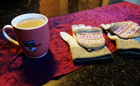 Hot drinks and finger-less mittens