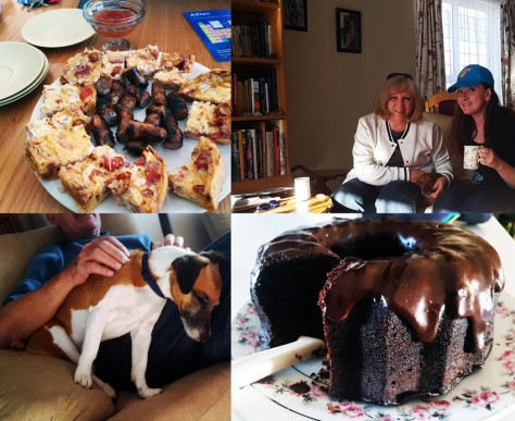 Quiche and chocolate cake and sleepy dog
