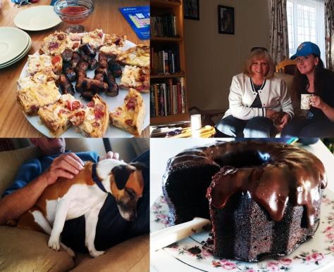 Quiche and chocolate cake and sleepy dog