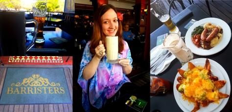 Coffee shake, nacho skins and bangers and mash at Barristers