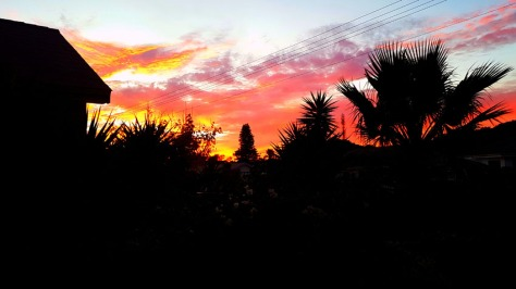 Gorgeous fiery sunset, as seen from home. Red sky at night, shepherd's delight!