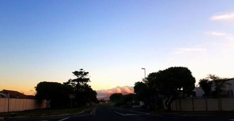 The sky was having a pastel-magic moment over Table Mountain when we got home.