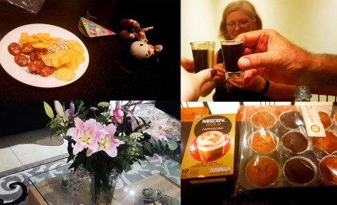 Moving in celebrations! Some of Bertie's party snacks, his new giraffe rope-toy, split shooters to celebrate the big move, as well as a beautiful vase of flowers and thoughtful muffin-and-coffee welcome gift from our new neighbours.
